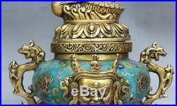 11Old China Royal Buddhism Cloisonne Gilt Dragon Mahakala Tripod Incense Burner