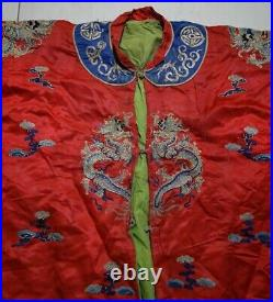 127cm China old qing hand Embroidery red Imperial Court Emperor dragon Robe
