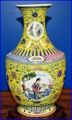 12 Vintage Chinese Porcelain Imperial Yellow 4 Seasons Vase Asian Oriental