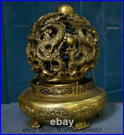 14Chinese Royal Feng Shui Brass Nine Dragon Rotation Luck Ball Statue Sculpture