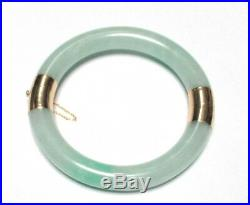 14 Kt Gold 10mm Imperial Green And White Jade Bracelet