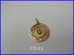 14kt Chinese Pendant With Imperial Jade Center Stone
