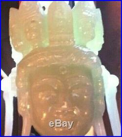 15/16c SUPERB CHINESE ICY APPLE GREEN JADE JADIETE IMPERIAL CARVED BODHA STATUE
