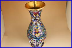 16inch noble chinese enamels cloisonne gilding hand painting royal statue vase