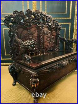 1860/70 Imperial Chinese Chest Bench With Carved Drachenmotiven Des