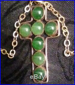 #1860 fine ANTIQUE CHINESE Imperial Jade Solid gold 14K jewelry JADEITE necklace