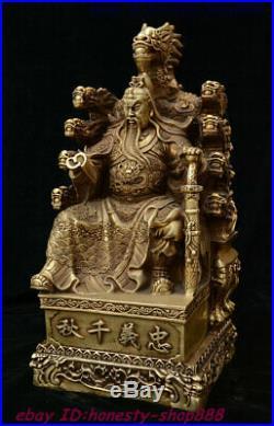 18 China Brass Imperial GuanGong Guan Yu Guan Gong Yu Dragon Warrior God Statue