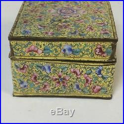 18th Century Chinese Cloisonne Box With Imperial Yellow Field