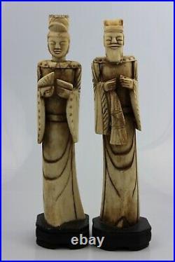 18th Century Chinese Hand Carved Bovine Bone Emperor & Empress Statue 27cm High