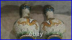 1920c PAIR CHINESE IMPERIAL MULTI-COLORED GLAZED DRAGONS CLOISONNE BOTTLE VASES