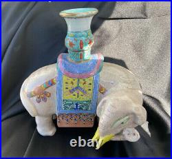 19TH C. ANTIQUE CHINESE EXPORT FAMILLE ROSE Imperial Elephant PORCELAIN