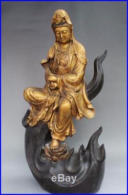 19 Old China Royal Buddism Bronze Gilt Kwan-Yin RuYi GuanYin Bodhisattva Statue