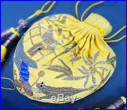 19th C ANTIQUE CHINESE IMPERIAL EMBROIDERY PURSE BAG YELLOW SILK RANK QING
