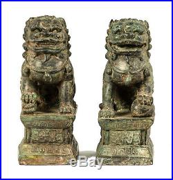 19th Century Antique Chinese Guardian Lions Foo Dogs Imperial Lions 16cm/6