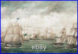 19th Century Chinese British Royal Navy Fleet Ships Off Hong Kong Ex-CHISTIES