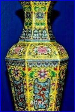28 Chinese Porcelain Vase Table Lamp Imperial Yellow Hexagon Asian Oriental