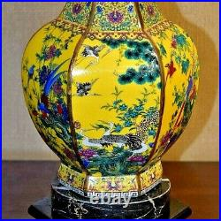 28 Very Fine Chinese Porcelain Hex. Vase Lamp Imperial Yellow Asian Style