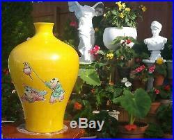 2 IMPERIAL YELLOW antique chinese porcelain vase art pottery vtg urn jar bottle