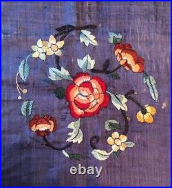 2 Pc CHINESE ROYAL QING SILK FIGURALFLORAL PANELSFAB EMBROIDERYWALL HANGINGS