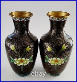 (2) People Republic Of China Cloisonne Bird Blue Royal Vase 10 Gilt Bronze