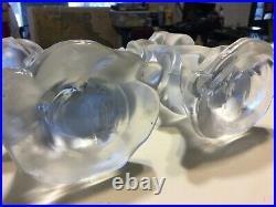 2-Signed Virginia B. Evans Imperial Glass Chinese Figures 9 1/2 Candle Holders
