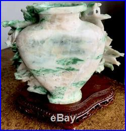 4.5lbs Antique Old Chinese White & Imperial Green Jade Vase Jar Urn with lid