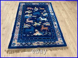 4' x 6' FINE VINTAGE HANDMADE WOOL RUG ROYAL BLUE HORSES SEMI ANTIQUE