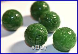 5 Vintage Imperial Jade Carved Dragon 17mm Huge Beads Estate Chinese Lot Rare
