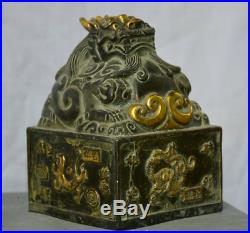 6Old Chinese Palace Bronze Gilt Beast Dragon Dynasty Imperial Seal Stamp Signet