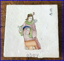 6 Antique Royal Tichelaar Makkum Earthenware Delft Chinese Figures Wall Decor