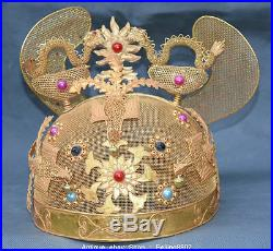 8 Rare Chinese Copper Gilt Dynasty Palace Dragon Phoenix Imperial Crown Cap