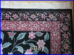 9' x 12' Vintage Hand Made Royal Chinese Wool Rug Flowers Black Decorative S731