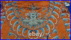 ANTIQUE19c CHINESE SILK EMBROIDERY GOLD TREADS ROBE IMPERIAL DRAGON, BIRDS, SYMBOL