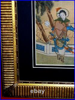 ANTIQUE Asian Bow Arrows Costume Royal Palace Terrace Tree Vintage Silk Painting