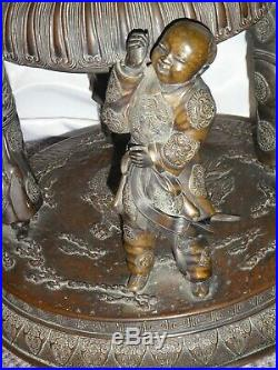 ANTIQUE BRONZE CHINESE 5-DEITY IMPERIAL INCENSE BURNER CENSER with LID. 34H