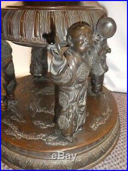 ANTIQUE BRONZE RARE CHINESE 5-DEITY IMPERIAL INCENSE BURNER withLid. 34H. 1600s