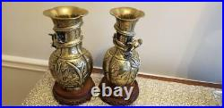 ANTIQUE CHINESE BRASS DRAGON VASES-MING DYNASTY AGE-IMPERIAL SEAL withstands