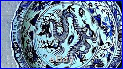 ANTIQUE CHINESE B/W CHARGER WithIMPERIAL DRAGON WithODDLY FEET IN THE CENTER