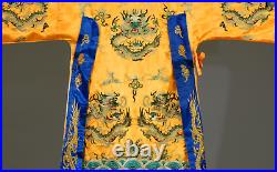 ANTIQUE CHINESE ROBE COURT DRESS IMPERIAL EMBROIDERED 5 CLAWS DRAGON design
