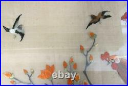 ANTIQUE Chinese hand embroidered silk panel Imperial Phoenix Fenghuang birds
