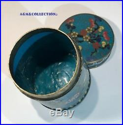 ANTIQUE IMPERIAL CHINESE CLOISONNÉ ENAMEL Cylindrical BOX-JAR / circa 1821-1850s