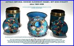 ANTIQUE IMPERIAL CHINESE CLOISONNÉ ENAMEL SET/ QING DYNASTY / c. 1821-1850