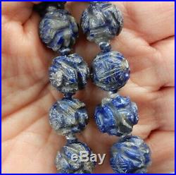 ANTIQUE QING DYNASTY 1800's LAPIS CARVED DRAGON BEAD IMPERIAL COURT NECKLACE 28