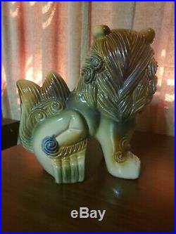 A Pair of Vintage Asian Imperial Lion Dogs, Ceramic Pottery, Mint, Free Shipping