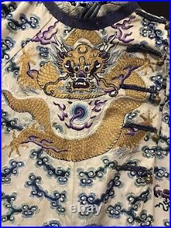 A Rare Imperial Embroidered White-ground Ten-Symbol Dragon Rob Jifu 19th Cen