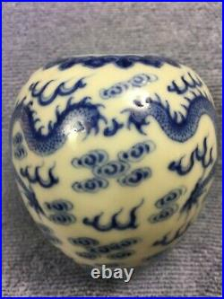 A Rare Imperial Marked Blue&white'dragons' Water Pot, Qing Period