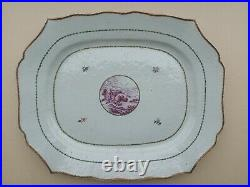 A Rare Pair Of Huge Chinese Export Porcelain Platters Royal House Service