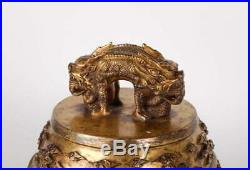 A Rare and Magnificent Chinese Imperial Gilt Bronze Bell with Dragon, Kangxi