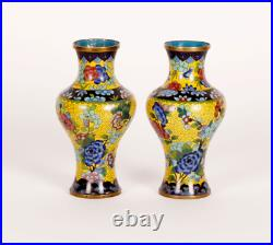 A pair vases imperial enamel circuits19th century Chinese vintage