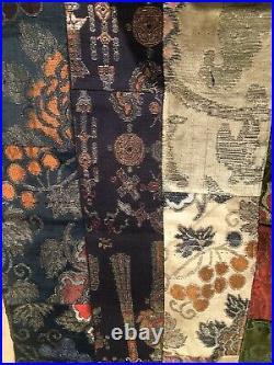 An antique Tibetan silk brocade pelmet made from Chinese imperial textiles